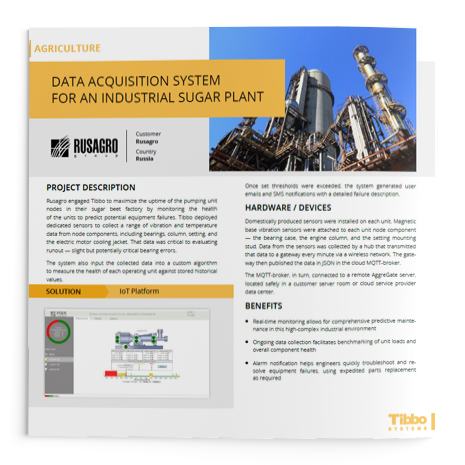 IoT Use Case. Data Acquisition System for an Industrial Sugar Plant