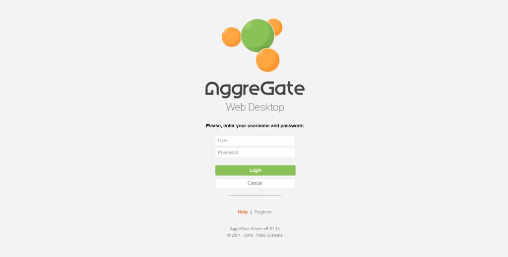 AggreGate Web Desktop Login Page