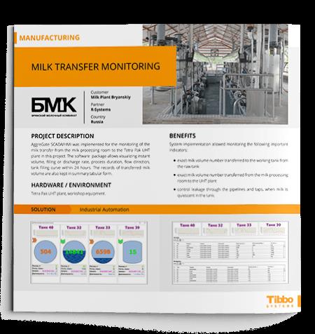 IoT Use Case. Milk Transfer Monitoring