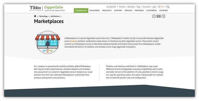 Marketplaces Web Page