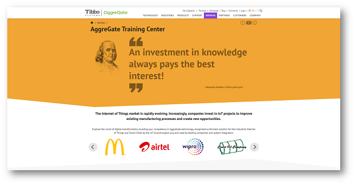 AggreGate Training Center web page